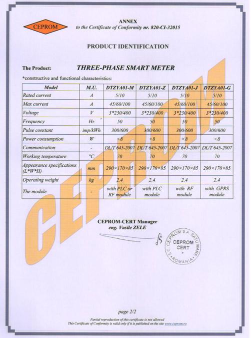 Three Phase Samrt Meter Certificate
